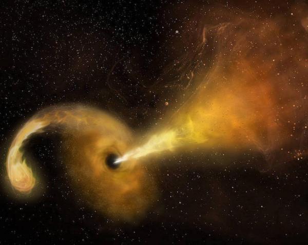 سیاه چاله ای که ستاره چرخنده را می بلعد